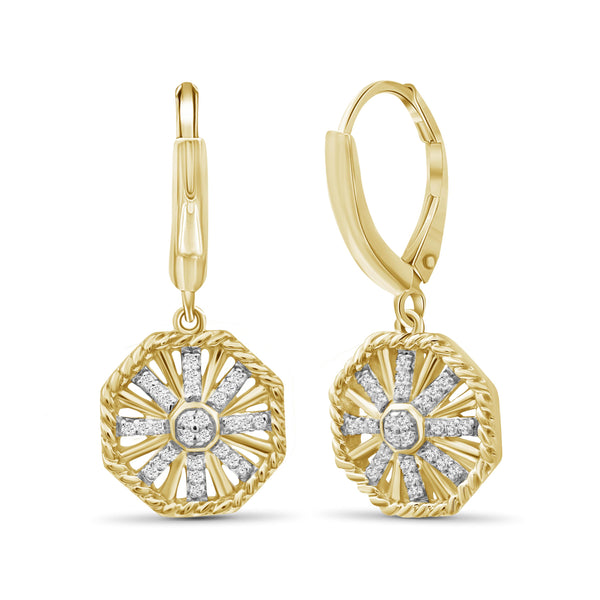 JewelonFire 1/7 Carat T.W. White Diamond Sterling Silver Octagon Earrings - Assorted Colors