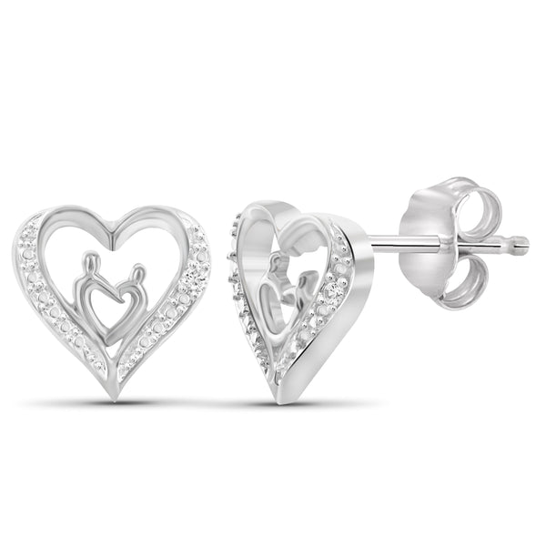 JewelonFire White Diamond Accent Sterling Silver Mother and Child Heart Stud Earrings - Assorted Colors
