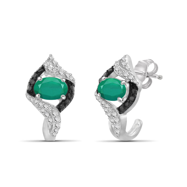 JewelersClub 0.75 Carat T.G.W. Emerald And 1/20 Carat T.W. Black & White Diamond Sterling Silver J Hoop Earrings - Assorted Colors