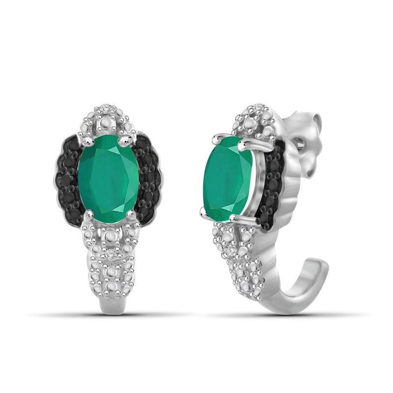 JewelersClub 0.75 Carat T.G.W. Emerald And Accent Black & White Diamond Sterling Silver J Hoop Earrings - Assorted Colors