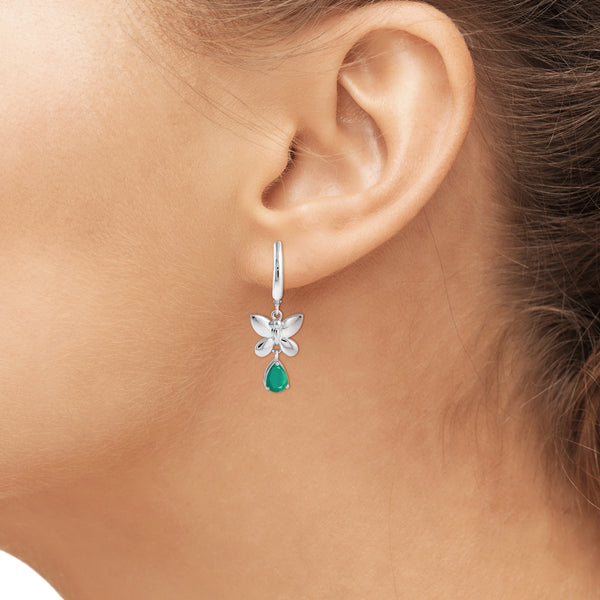 JewelonFire 1.40 Carat T.G.W. Genuine Emerald Sterling Silver Lever Back Earrings - Assorted Colors