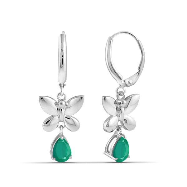 JewelersClub 1.40 Carat T.G.W. Genuine Emerald Sterling Silver Lever Back Earrings - Assorted Colors