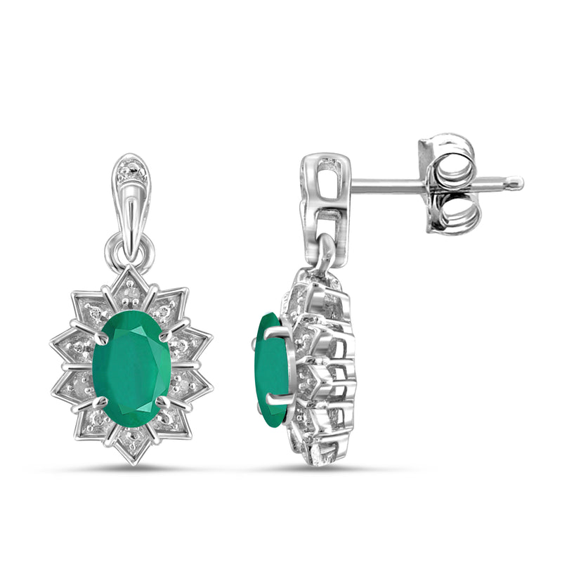 JewelersClub 0.75 Carat T.G.W. Genuine Emerald And Accent White Diamond Sterling Silver Dangle Earrings - Assorted Colors