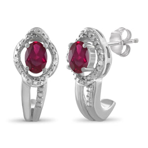 JewelonFire 0.95 Carat T.G.W. Ruby And Accent White Diamond Sterling Silver J Hoop Earrings - Assorted Colors