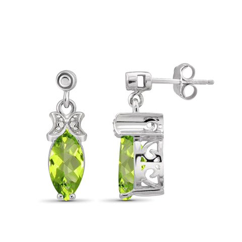 JewelonFire 2 1/2 Carat T.G.W. Peridot And White Diamond Accent Sterling Silver Stud Earrings - Assorted Colors