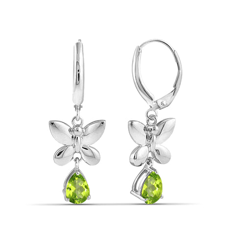 JewelonFire 1 1/2 Carat T.G.W. Peridot Sterling Silver Dangle Earrings - Assorted Colors