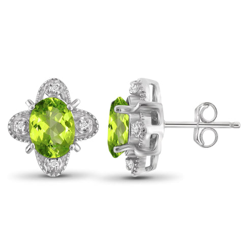 JewelonFire 1 1/2 Carat T.G.W. Peridot And White Diamond Accent Sterling Silver Stud Earrings - Assorted Colors