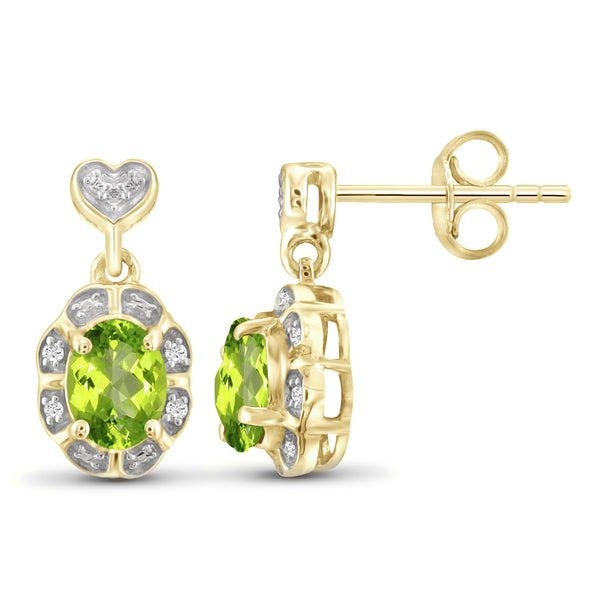 JewelonFire 1.00 Carat T.G.W. Peridot And White Diamond Accent Sterling Silver Stud Earrings - Assorted Colors