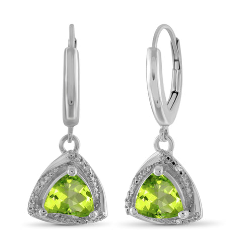JewelonFire 3.00 Carat T.G.W. Peridot And White Diamond Accent Sterling Silver Dangle Earrings - Assorted Colors