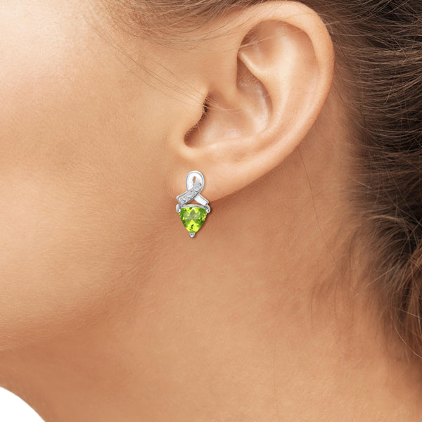 JewelonFire 3.00 Carat T.G.W. Peridot And White Diamond Accent Sterling Silver Stud Earrings - Assorted Colors