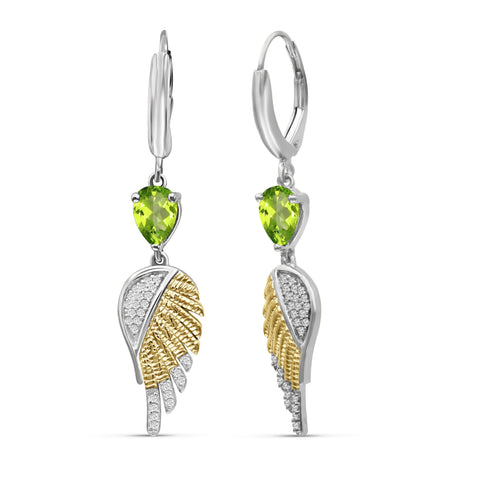 JewelonFire 1 1/2 Carat T.G.W. Peridot & Created White Sapphire Sterling Silver Dangle Earrings - Assorted Colors
