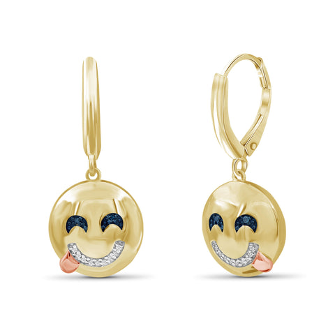 JewelersClub 1/20 Ctw Blue And White Diamond Two Tone Sterling Silver Emoji Earrings