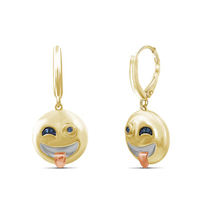 JewelersClub 1/20 Ctw Blue Diamond Three Tone Sterling Silver Emoji Earrings