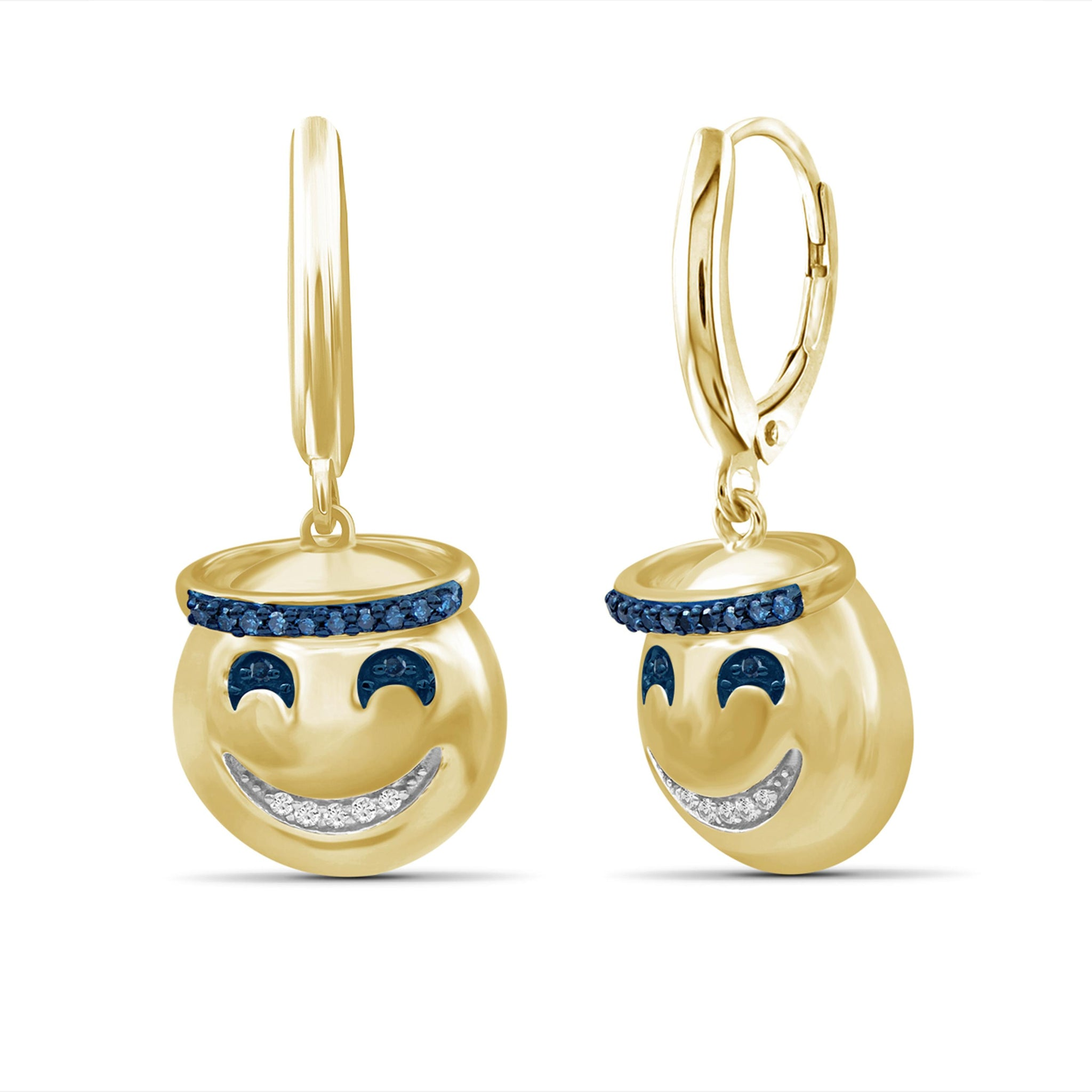 JewelonFire 1/10 Ctw Blue And White Diamond 14k Gold Over Silver Emoji Earrings