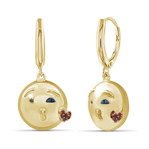 JewelersClub 1/10 Ctw Blue And Red Diamond 14k Gold Over Silver Emoji Earrings