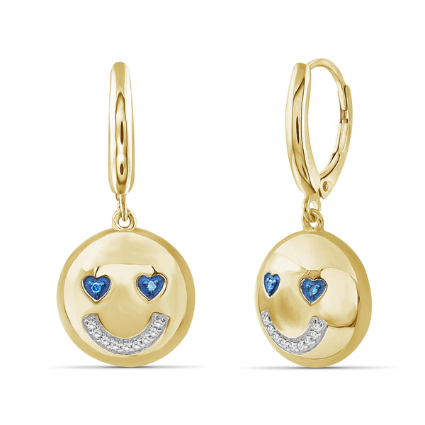 JewelonFire 1/20 Ctw Blue And White Diamond 14k Gold Over Silver Emoji Earrings
