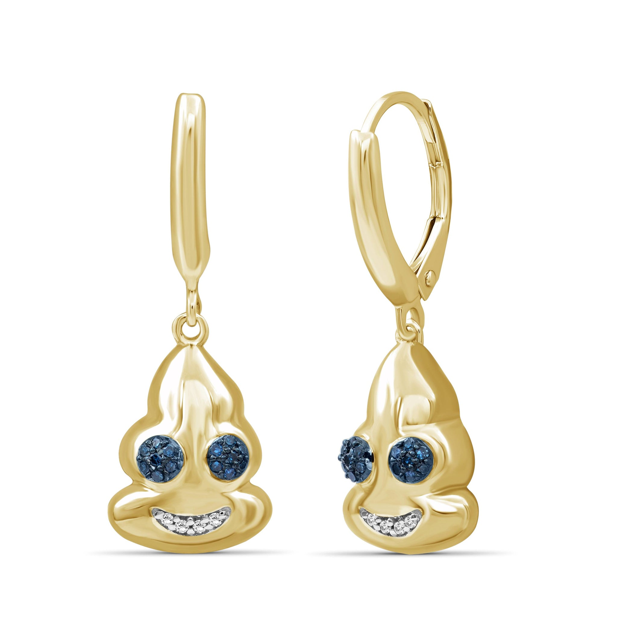 JewelersClub 1/10 Ctw Blue And White Diamond 14k Gold Over Silver Emoji Earrings