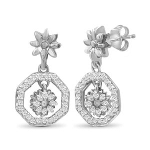 JewelonFire 1/7 Carat T.W. White Diamond Sterling Silver Flower Octagon Earrings - Assorted Colors