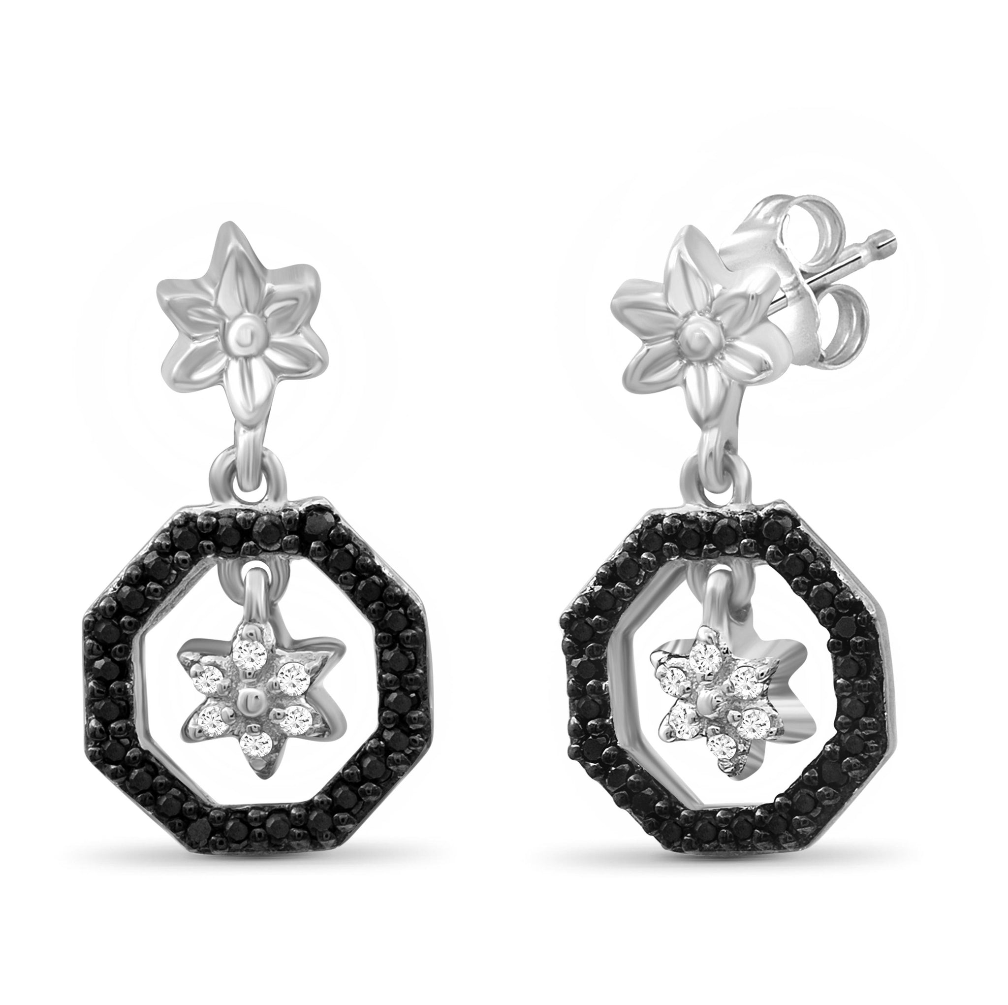 JewelonFire 1/7 Carat T.W. Black And White Diamond Sterling Silver Flower Octagon Earrings - Assorted Colors