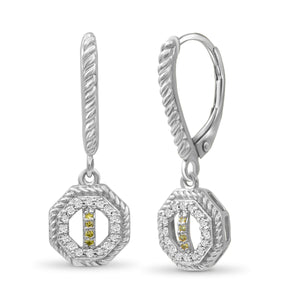 JewelonFire 1/7 Carat T.W. Yellow And White Diamond Sterling Silver Octagon Earrings - Assorted Colors