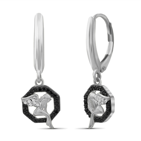 JewelonFire 1/7 Carat T.W. Black And White Diamond Sterling Silver Angel Octagon Earrings - Assorted Colors