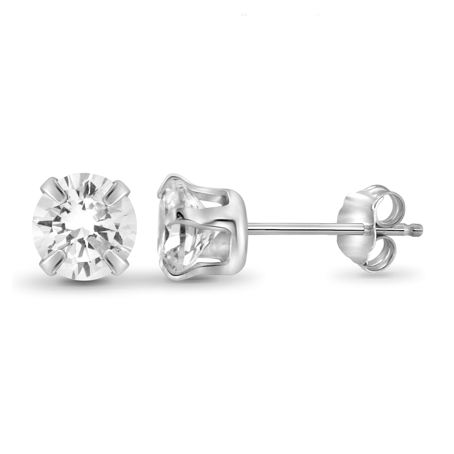 White Cubic Zirconia Sophia Studs in Platinum-Plated Sterling Silver