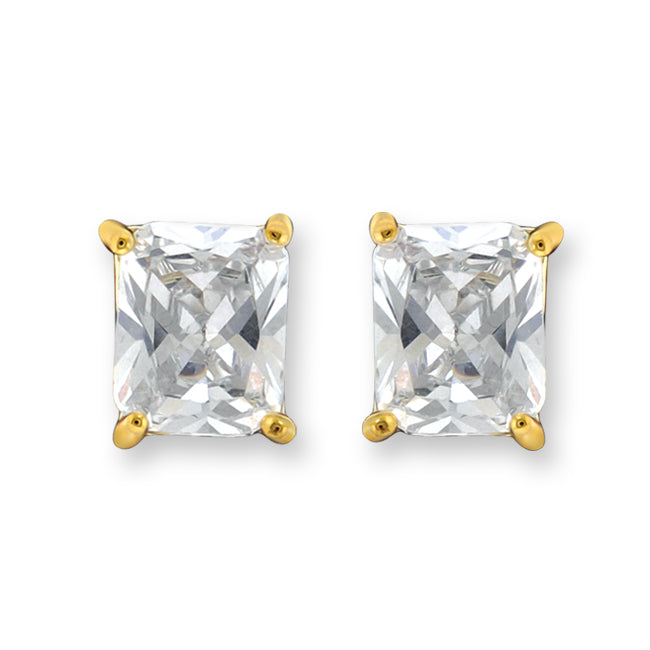 Diamonice Emerald-Cut Cubic Zirconia Stud Earrings