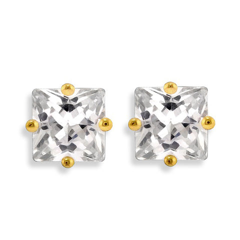 Glamour Square Cubic Zirconia Stud Earrings