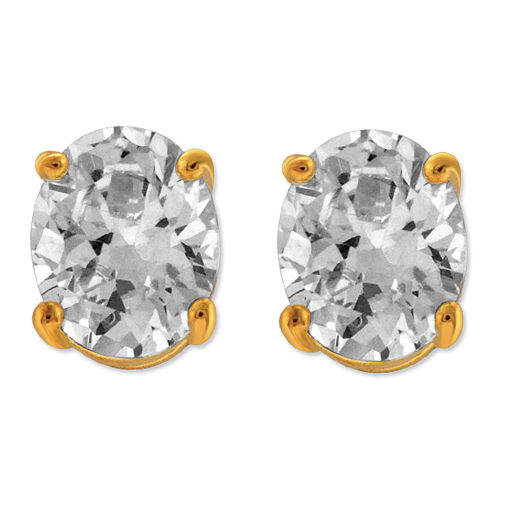 Diamonice 8.00 MM Oval Cubic Zirconia Solitaire Stud Earrings