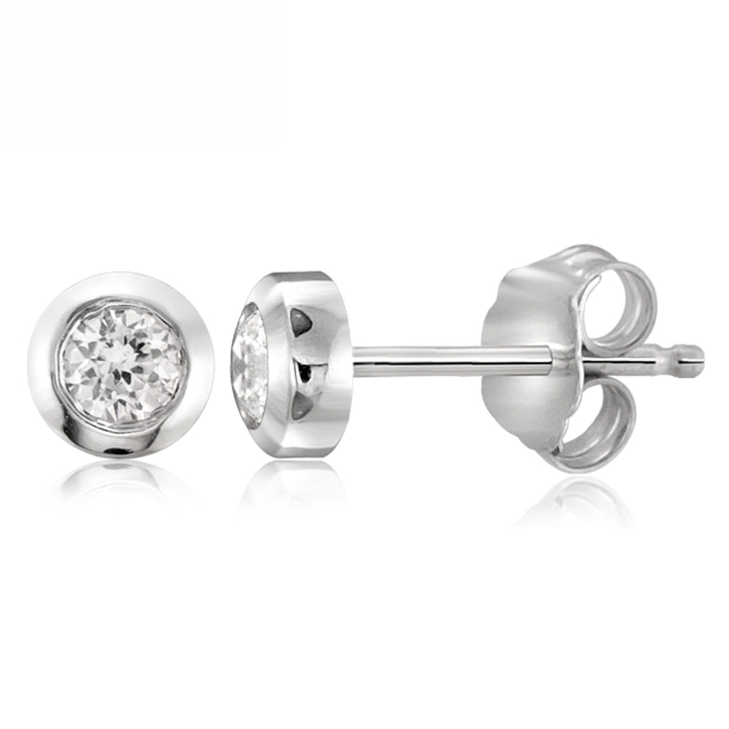 Diamonice White Cubic Zirconia (AAA) Sterling Silver Stud Earrings