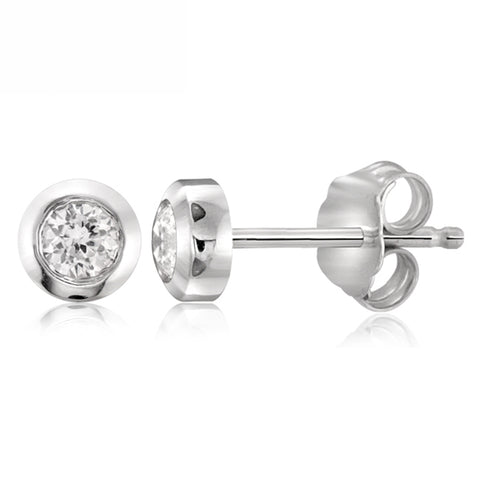 White Cubic Zirconia (AAA) Sterling Silver Stud Earrings