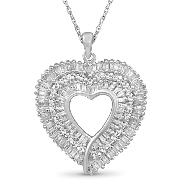 JewelonFire 1 Carat T.W. Round and Baguette-Cut White Diamond Sterling Silver Heart Pendant - Assorted Colors