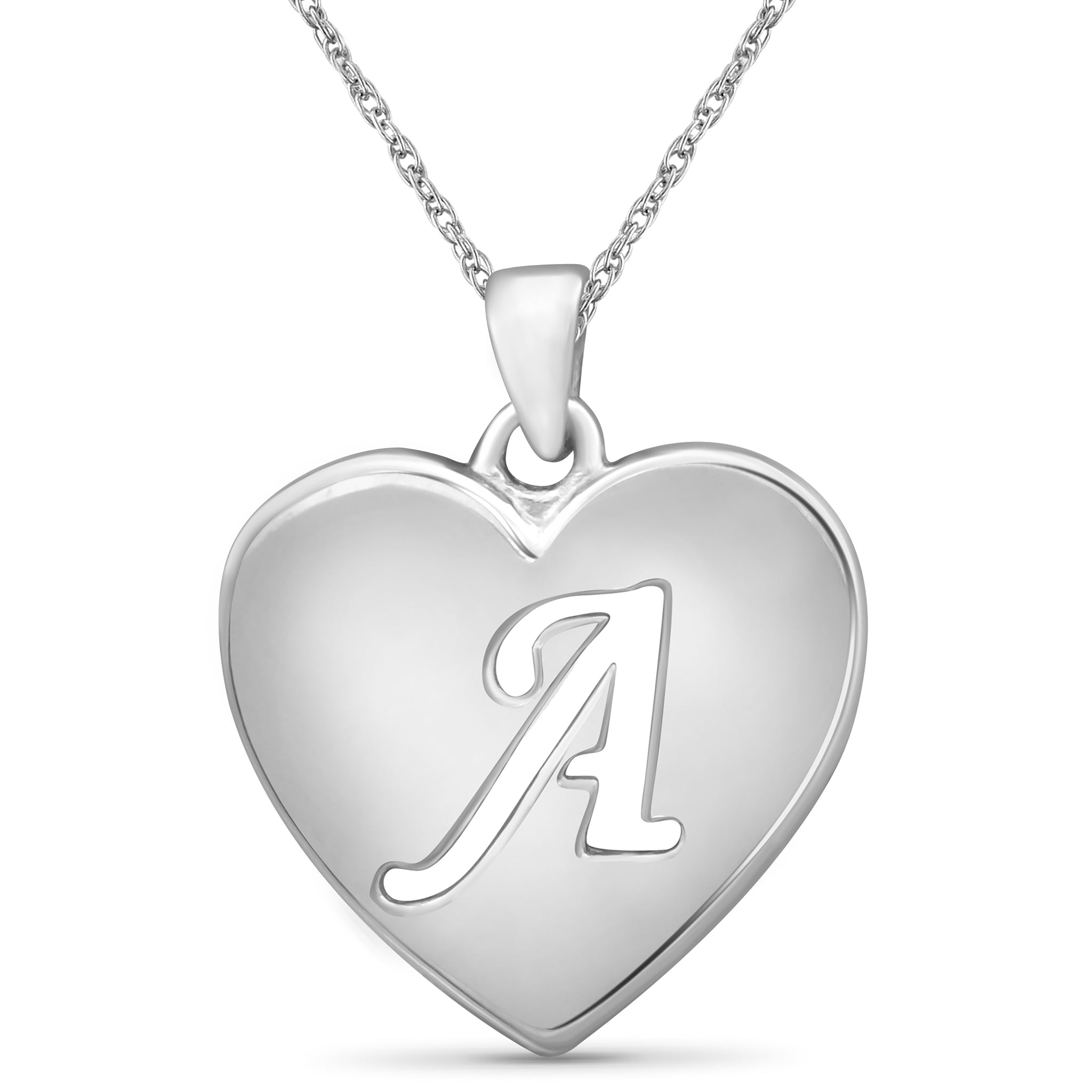 JewelonFire Initial Letter Pendant Necklace for Women | Customizable Sterling Silver A to Z Alphabet Monogram Necklaces for Girls | Cursive Script Capital Letters | Personalized Jewelry Gift for Her