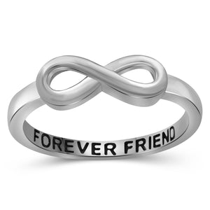 JewelonFire Sterling Silver Infinity Friendship Ring for Women | Personalized Forever Friend Promise Eternity Knot Symbol Band