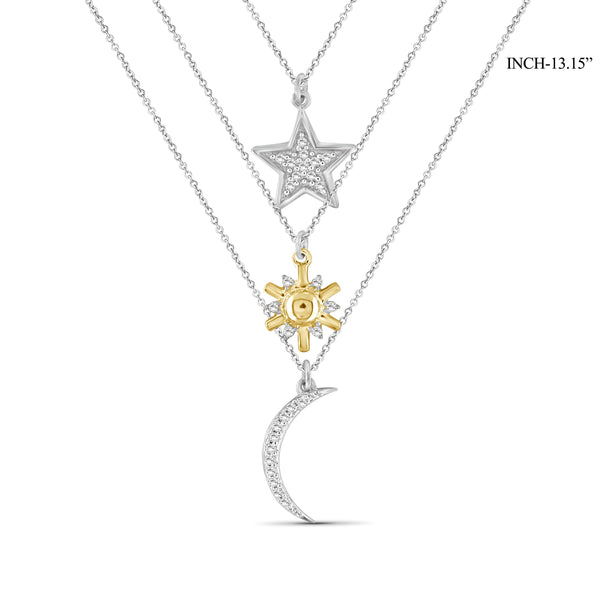 JewelersClub 1/10 Ctw White Diamond Two-Tone Sterling Silver Sun, Moon & Star Layer Pendant