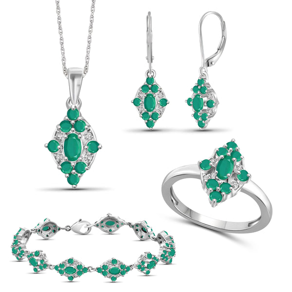 JewelersClub 10.60 Carat T.G.W. Emerald And 1/20 Carat T.W. White Diamond Sterling Silver 4 Piece Jewelry Set - Assorted Colors