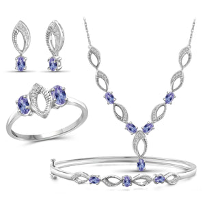 JewelonFire 2.80 Carat T.G.W. Tanzanite And 1/10 Carat T.W. White Diamond Sterling Silver 4 Piece Jewelry Set - Assorted Colors