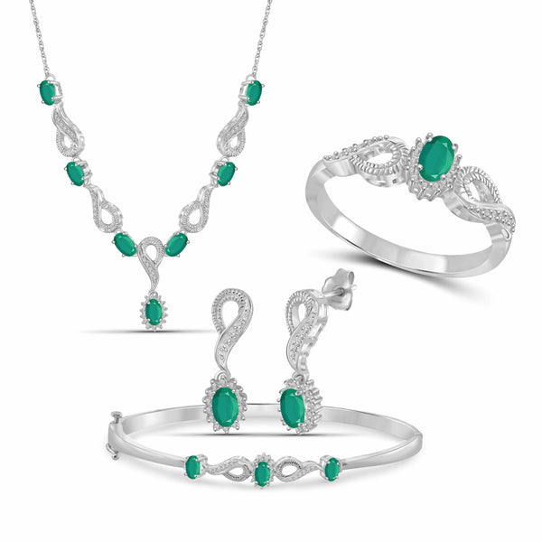 JewelonFire 2.90 Carat T.G.W. Emerald And 1/10 Carat T.W. White Diamond Sterling Silver 4 Piece Jewelry Set - Assorted Colors