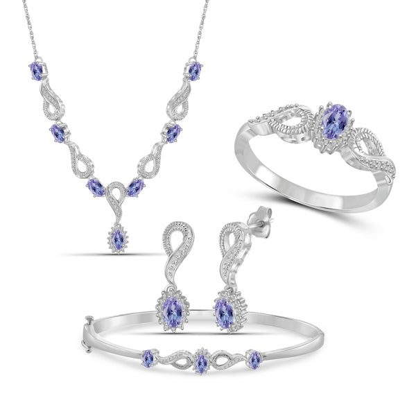 JewelonFire 3.10 Carat T.G.W. Tanzanite And 1/10 Carat T.W. White Diamond Sterling Silver 4 Piece Jewelry Set - Assorted Colors