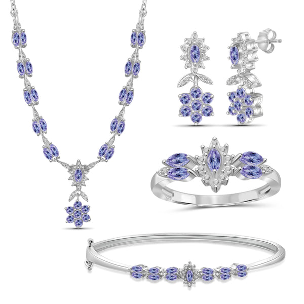 JewelonFire 3.70 Carat T.G.W. Tanzanite And 1/10 Carat T.W. White Diamond Sterling Silver 4 Piece Jewelry Set - Assorted Colors