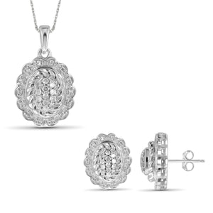 JewelonFire 1/2 Carat T.W. White Diamond Sterling Silver 2 Piece Jewelry Set - Assorted Colors