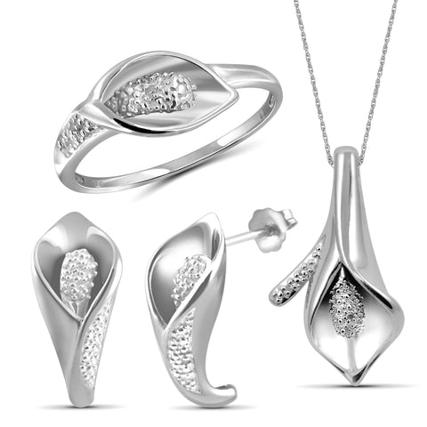 JewelonFire 1/20 Carat T.W. White Diamond Sterling Silver 3 Piece Calla Lily Jewelry Set - Assorted Colors