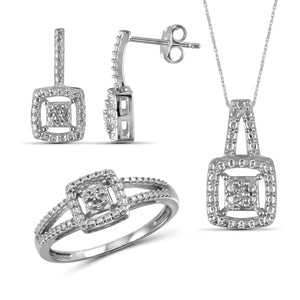 JewelonFire Genuine Accent White Diamond Sterling Silver 3 Piece Jewelry Set - Assorted Colors