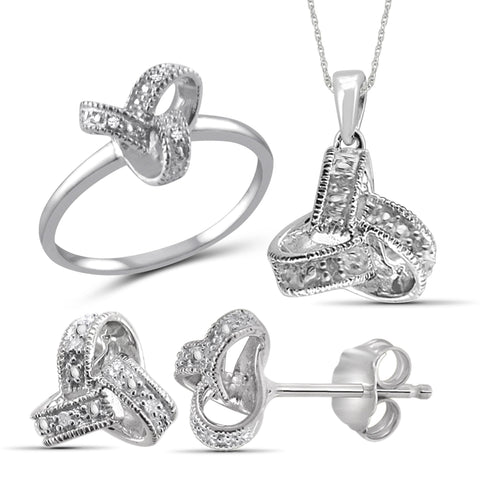 JewelonFire 1/20 Carat T.W. White Diamond Sterling Silver 3 Piece Love Knot Jewelry Set - Assorted Colors