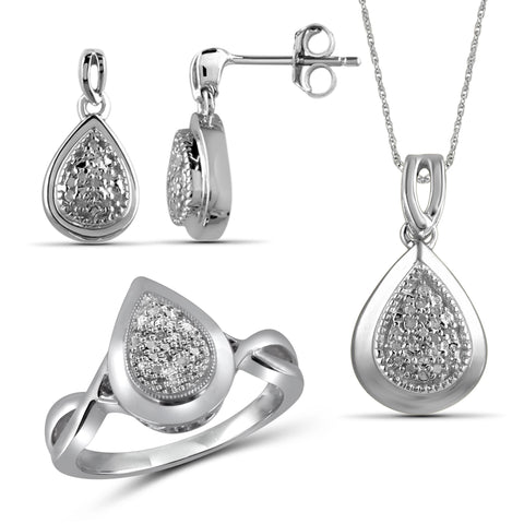JewelonFire 1/7 Carat T.W. White Diamond Sterling Silver 3 Piece Pear Shape Jewelry set - Assorted Colors