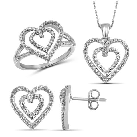 JewelonFire 1/10 Carat T.W. White Diamond Sterling Silver 3 Piece Open Heart Jewelry Set - Assorted Colors
