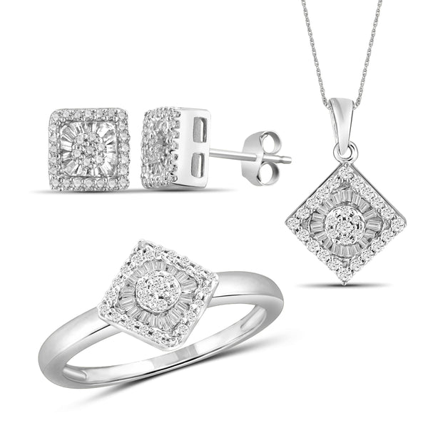 JewelonFire 1.00 Carat T.W. White Diamond Sterling Silver 3 Piece Jewelry Set - Assorted Colors