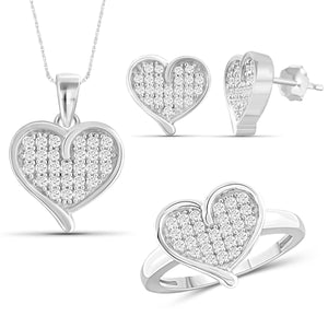 JewelonFire 1.00 Carat T.W. White Diamond Sterling Silver 3 Piece Heart Jewelry Set - Assorted Colors