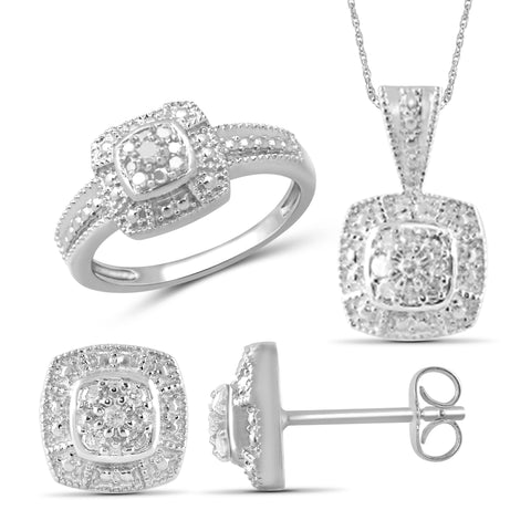 JewelonFire 1/3 Carat T.W. White Diamond Sterling Silver 3 Piece Jewelry Set - Assorted Colors