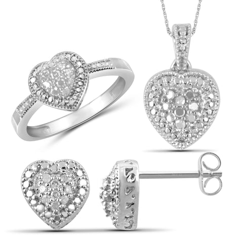 JewelonFire 1/3 Carat T.W. White Diamond Sterling Silver 3 Piece Heart Jewelry Set - Assorted Colors